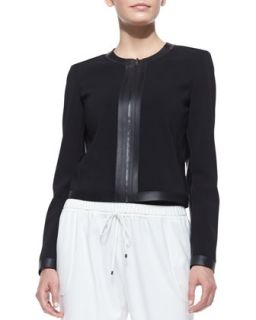 Womens Ruby Classic Zip Front Jacket, Black   T Tahari   Black (MEDIUM)
