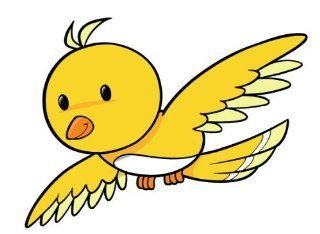 Children's Wall Decals   Cartoon Yellow Flying Bird   12 inch Removable Graphics (4 same)   Prints