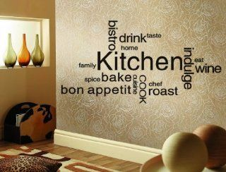 "47.2"" X 21.7"" Kitchen Decorations Wall Decal Stickers Decor Drink Taste Wine Eat Bon Appetti Indulge Family Lettering Words Saying Sticky Art Home Decor"