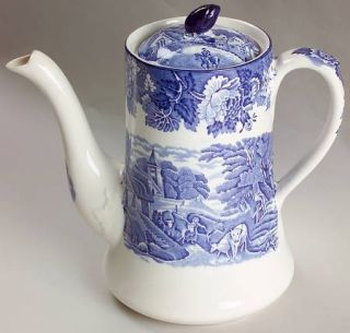 Enoch Wood & Sons English Scenery Blue (Blue Backs,Smooth) Coffee Pot & Lid, Fin