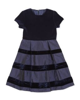Velvet & Taffeta Party Dress, Girls Navy, 2Y 14Y   Oscar de la Renta