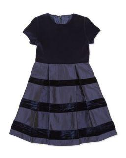 Velvet & Taffeta Party Dress, Girls Navy, 2Y 14Y   Oscar de la Renta