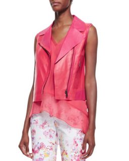 Womens Katie Sleeveless Moto Leather Vest   Elie Tahari   Coral/Passion tea