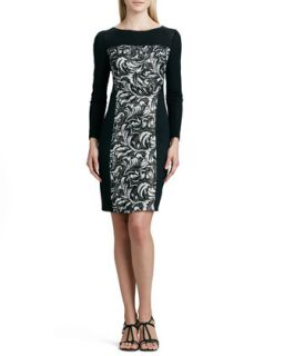 Womens Paneled Printed Sweater Dress   Kay Unger New York   Black multi (12)