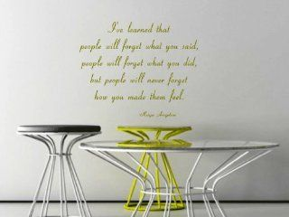 I've Learned That People Will Forget What You Said Maya Angelou Vinyl Wall Decal   Decorative Wall Appliques