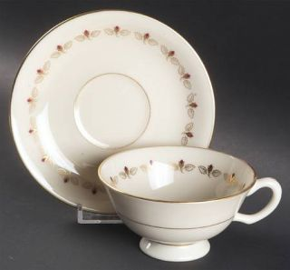 Lenox China Romance Footed Cup & Saucer Set, Fine China Dinnerware   Rosebuds In