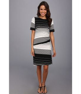 Nally & Millie Striped Half Sleeve Dress Womens Dress (Black)