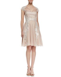 Womens Lace Appliqu� Shirt Style Cocktail Dress, Blush   Kay Unger New York