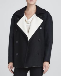 Womens Contrast Lined Pea Coat, Black/Navy/White   Derek Lam   Blk/Navy/White