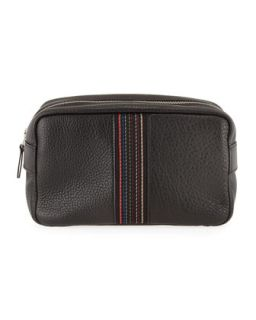 Mens Leather Striped Web Travel Kit   Paul Smith   Black