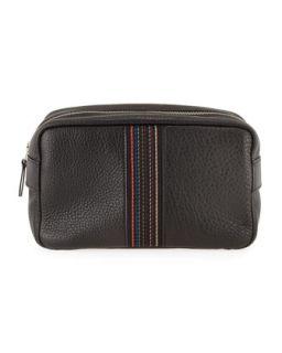 Mens Leather Striped Web Travel Kit   Paul Smith   Black