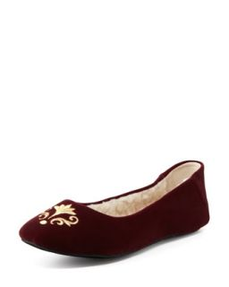 Bel Esprit Velour Slipper, Bordeaux   Jacques Levine   Bordeaux(purple) (38.