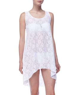 Womens Lace Crochet High Low Coverup   Profile by Gottex   White (LARGE)