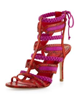 Elisa Python Tie Back Sandal, Orange/Pink   B Brian Atwood   Orange/Pink (38.