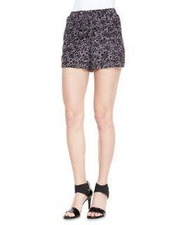Womens Silk Leopard Print Shorts   Rebecca Taylor   Steel (6)