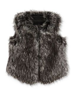 Girls Faux Fur Vest, Black, S XL   Vince