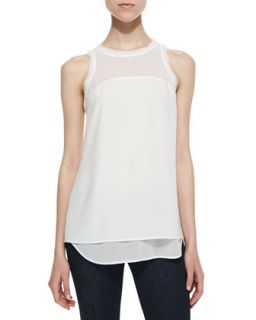 Womens Amanda Textured Crepe Layered Top, White   Cooper & Ella   White