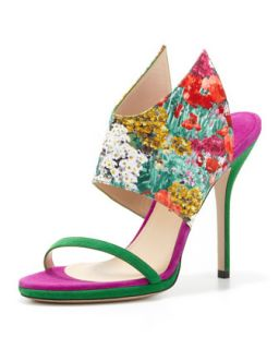 Floral Print Silk and Suede Wing Sandal   Paul Andrew   Poppy/Peridot (36.5B/6.