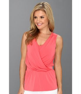 Anne Klein Petite Sleeveless Drape Neck Top Womens Sleeveless (Coral)