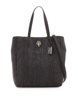 Eve Woven Leather Tote Bag, Black   Rachel Zoe
