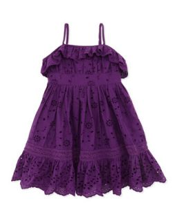 Ruffle Eyelet Sundress, Purple, Toddler Girls 2T 3T   Ralph Lauren