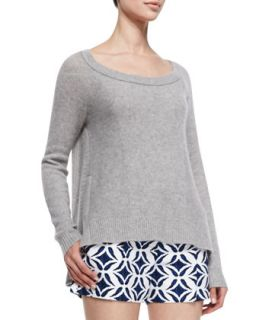 Womens Long Sleeve Cashmere Sweater, Heather Gray   Diane von Furstenberg