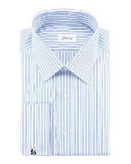 Mens Double Track Stripe Dress Shirt, Blue   Brioni   Blue (16L)
