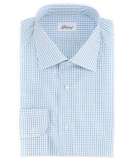 Mens Mini Check Woven Dress Shirt, White/Blue   Brioni   White blue (44/17.5L)