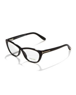 Crossover Cat Eye Fashion Glasses, Shiny Black/Rose Golden   Tom Ford   Shn
