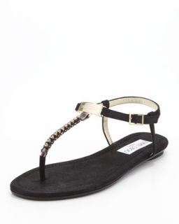 Nox Flat Crystal Thong Sandal, Black   Jimmy Choo   Black (37.5B/7.5B)