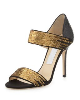 Tallow Sequined Snakeskin Sandal, Black/Gold   Jimmy Choo   Black/Gold (36.0B/6.