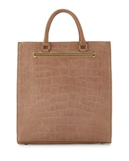 Croc Embossed North South Shopper Tote, Rose Quartz   Ivanka Trump