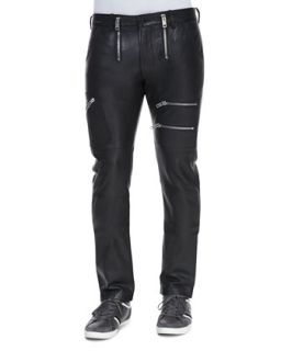 Mens Zippered Leather Pants, Black   Diesel   Black (33)
