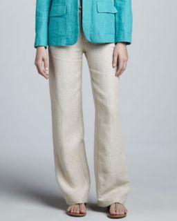 Womens Wide Leg Linen Pants   Natural (MEDIUM (8 10))