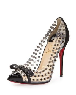 Bille Studded PVC Red Sole Pump, Black   Christian Louboutin   Black (38.5B/8.
