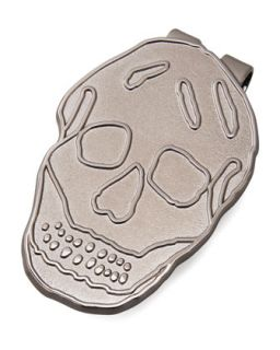 Mens Blackened Brass Skull Money Clip   Alexander McQueen   Blackened silver