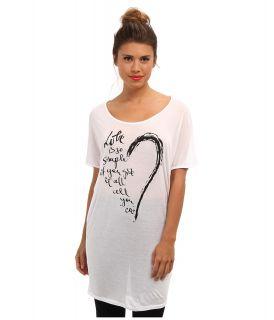 Brigitte Bailey Modal Love Tunic Womens Short Sleeve Pullover (White)