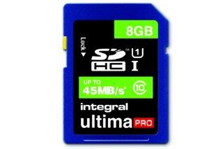 Integral 8GB Ultima Pro SDHC 45MB/sec CL10 High Speed (UHS 1) memory card: Computers & Accessories