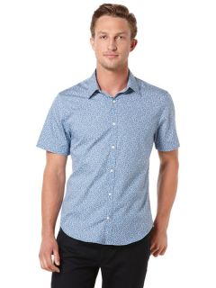 Perry Ellis Mens Short Sleeve Mini Floral Print Shirt