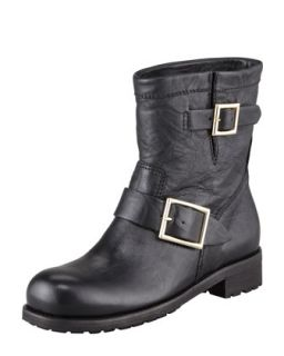 Youth Buckled Biker Boot   Jimmy Choo   Black (35.0B/5.0B)