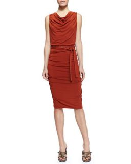 Womens Sleeveless Self Belted Ruched Jersey Dress   Donna Karan   Terracotta