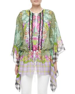 Womens Animal/Floral/Plaid Silk Caftan   Just Cavalli   White (SMALL)