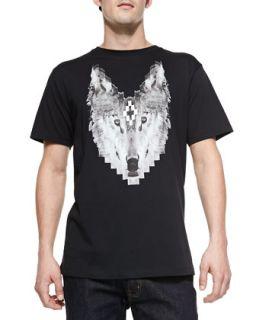 Mens Wolf Print Crewneck Tee   Marcelo Burlon   Black (XL)