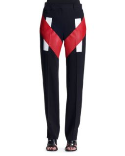 Womens V Panel Colorblock Trousers   Givenchy   Black/Red (42/8)