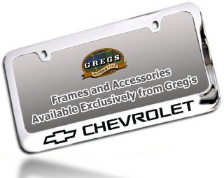 Chevrolet Chevy License Plate Frame, Chrome Brass: Automotive