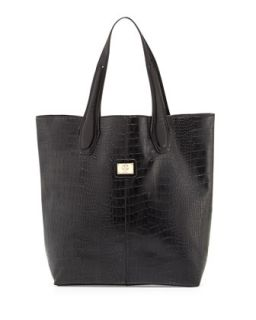 Charlene Croc Embossed Tote Bag, Black   Christian Lacroix