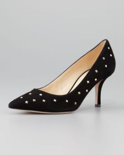 jacinda studded suede pump, black   kate spade new york   Black (35.5B/5.5B)