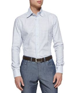 Mens Textured Check Button Down Shirt, Blue   Brioni   Blue pattern (LARGE)
