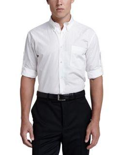 Mens Tonal Skull Tab Sleeve Shirt   Alexander McQueen   White (52)