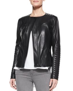 Womens Quilted Patch Leather Moto Jacket   Vince   Black (LARGE)